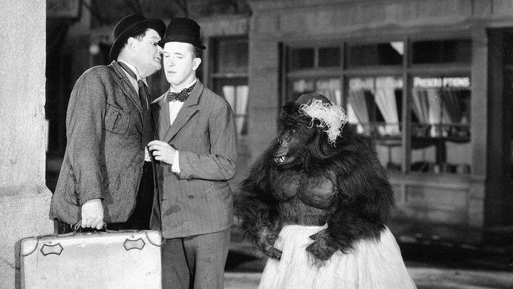 Una scena tratta dal film Stanlio e Ollio - Il circo è fallito